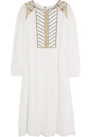 Roseraie embroidered beaded muslin midi dress