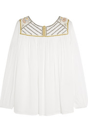 Rosier embroidered muslin top