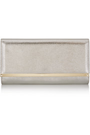 Jimmy Choo Maia metallic textured-leather clutch