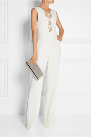 Maia metallic textured-leather clutch