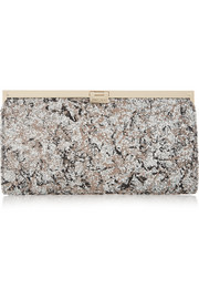 Camille glittered suede clutch