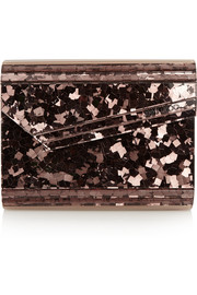 Candy paillette-embellished acrylic clutch