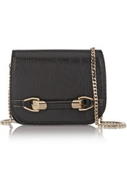 Zadie mini elaphe-trimmed textured-leather shoulder bag