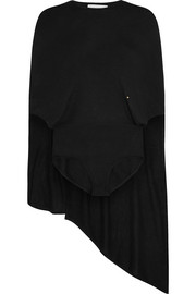 Cape-back cashmere and silk-blend bodysuit