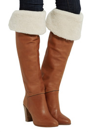 Anita shearling-lined leather over-the-knee boots