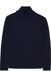 Azalee ruffle-trimmed wool turtleneck sweater