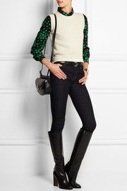 Albert printed silk-jacquard blouse