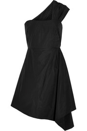 One-shoulder taffeta mini dress