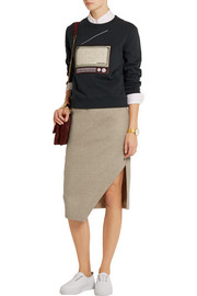 Asymmetric wool-gabardine pencil skirt