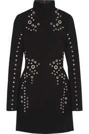 Eyelet-embellished wool-crepe mini dress