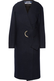 Oversized belted wool-felt coat