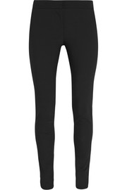 Cotton-blend crepe skinny pants