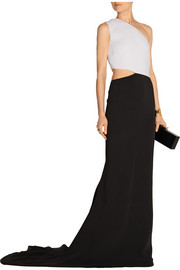 Cutout two-tone stretch-crepe gown