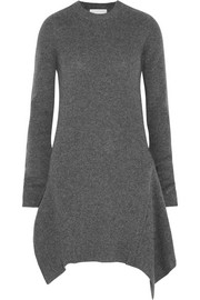 Asymmetric ribbed wool dress