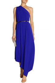 One-shoulder asymmetric stretch-cady gown
