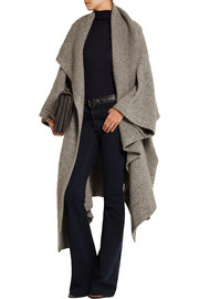 Draped knitted blanket coat