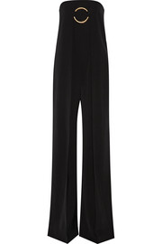 Strapless wool-twill jumpsuit