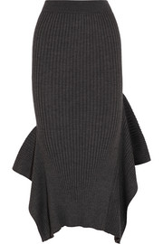 Stella McCartney Ribbed wool and silk-blend midi skirt