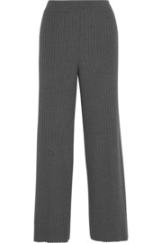 Ribbed wool and silk-blend flared pants