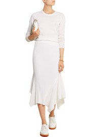 Ribbed wool and silk-blend midi skirt