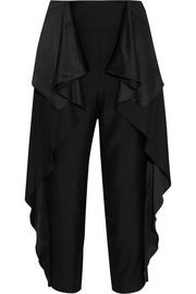 Stella McCartney Ruffled satin-paneled crepe straight-leg pants