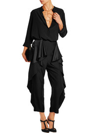 Ruffled satin-paneled crepe straight-leg pants