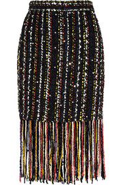 Fringed embellished bouclé-tweed skirt