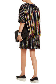 Faux pearl-embellished boucl�-tweed dress