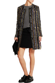MSGM Fringed bouclé-tweed jacket