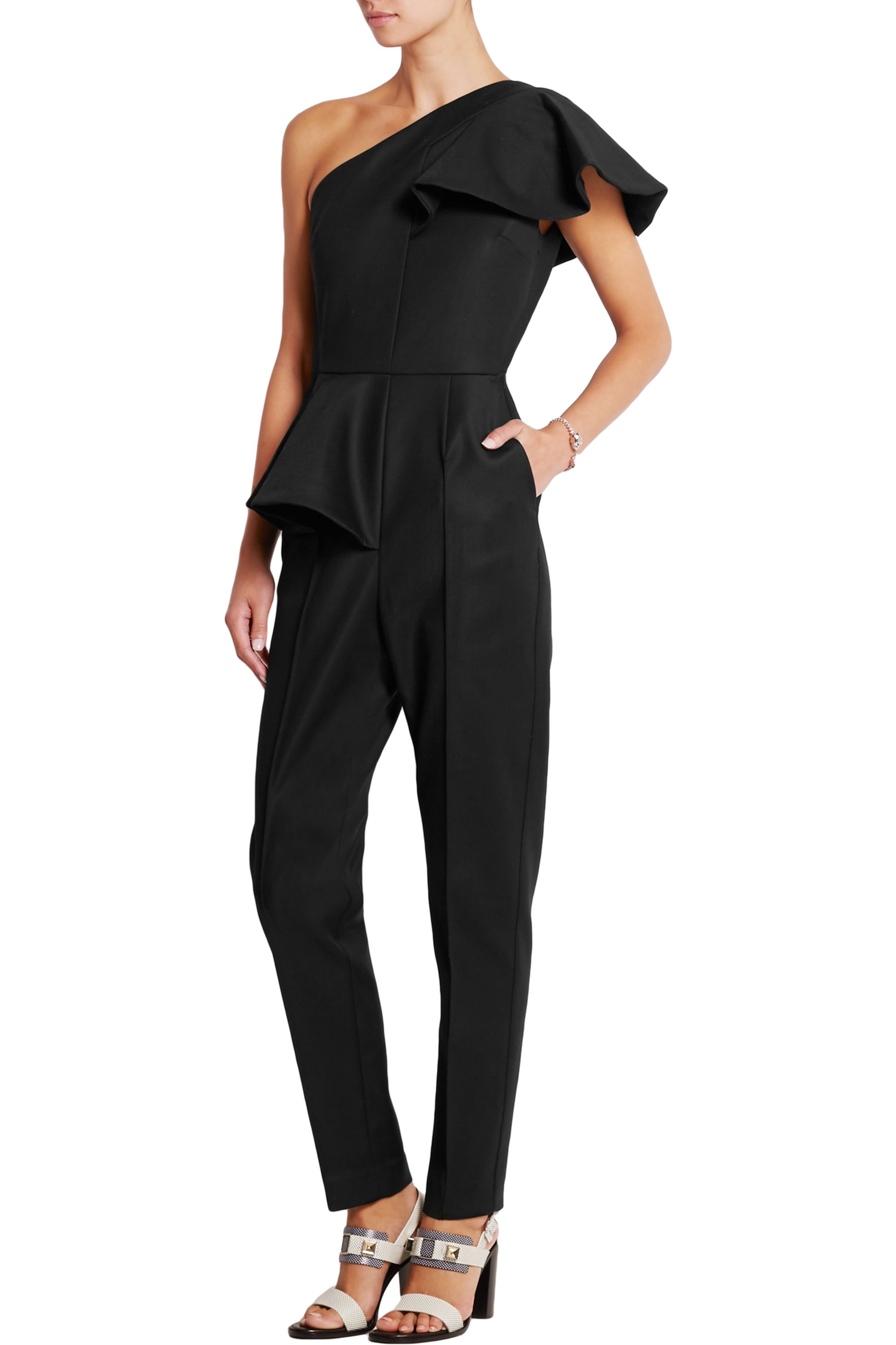 MSGM Ruffled stretch-woven jumpsuit