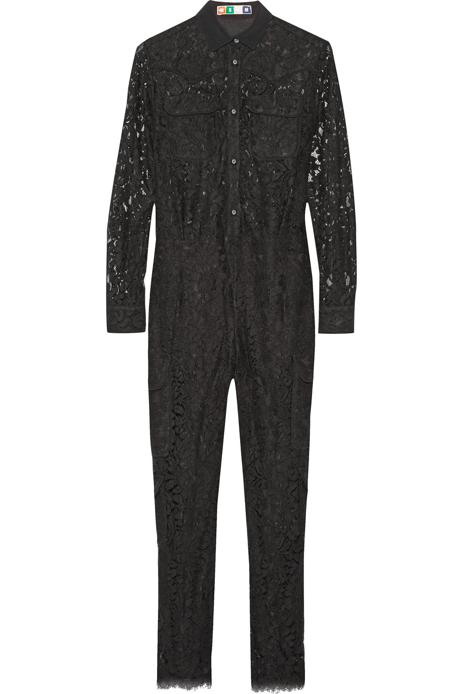 MSGM Crepe-Trimmed Lace Jumpsuit, Black, Women's, Size: 42