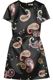 Paisley-print silk-satin mini dress