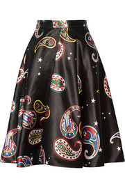 Paisley-print satin skirt