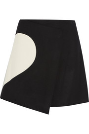 Wool-blend wrap mini skirt
