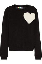 Heart-intarsia virgin wool sweater