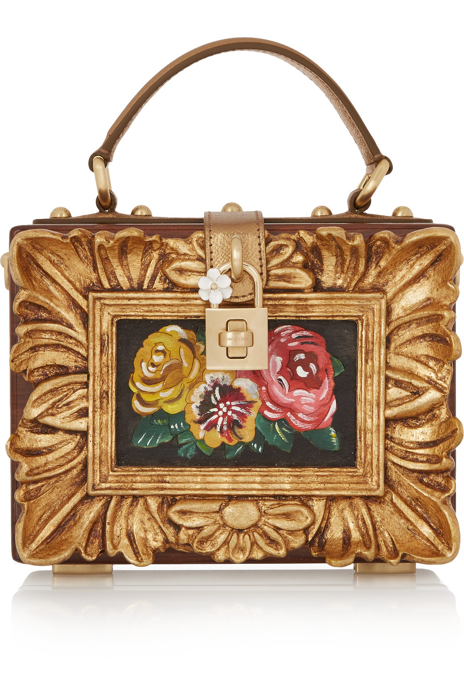 Dolce & Gabbana Dolce Metallic Textured Leather-Trimmed Wood Clutch, Bronze, Women's