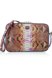 Glam python, elaphe and crocodile shoulder bag