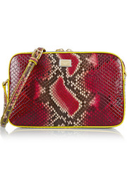 Glam leather-trimmed python shoulder bag