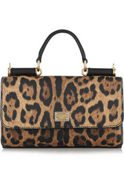Lipstick leopard-print textured-leather shoulder bag