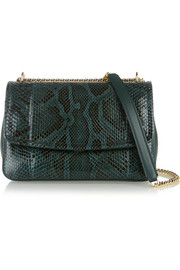 Margarita python and leather shoulder bag