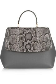 Margarita python and leather tote