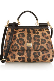Sicily medium leopard-print textured-leather shoulder bag