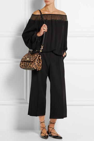 a425b99af559 Dolce   Gabbana. Sicily medium leopard-print textured-leather shoulder bag