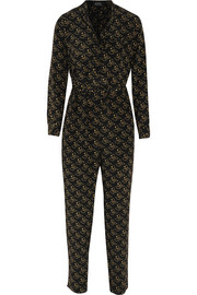 Laura printed silk crepe de chine jumpsuit