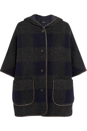 Plaid wool-blend hooded coat