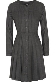 Pleated wool-flannel dress