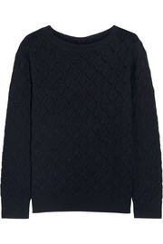 Pointelle-knit merino wool sweater