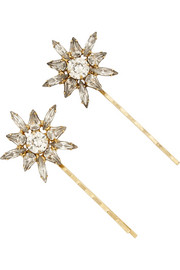 Jennifer Behr Thea gold-tone Swarovski crystal hair slides