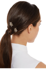 Thea gold-tone Swarovski crystal hair slides