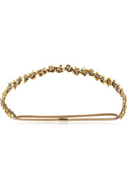 Jennifer Behr Maye Swarovski crystal-embellished gold-plated headband